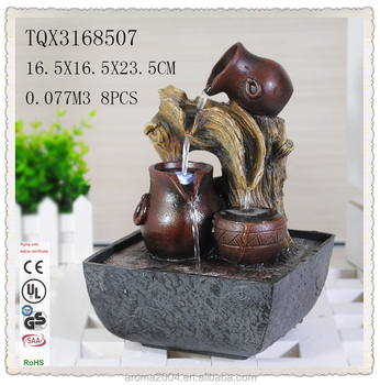 Polyresin Pots Indoor Tabletop Small Waterfall Fountain