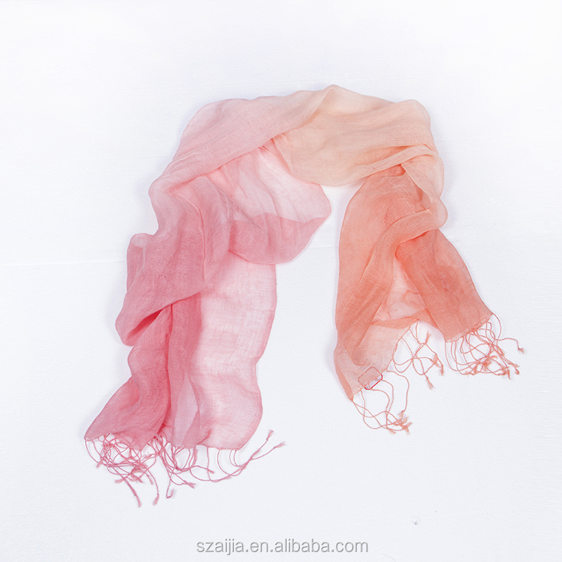 Ladies hand painted ombre 100 linen scarf