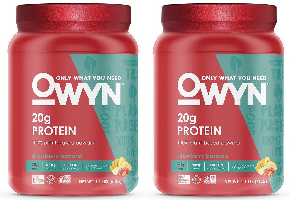 OWYN 100% Plant-Based Vegan Allergen-Friendly Protein-Powder, 28 Servings, 2 Count (Strawberry Banana)