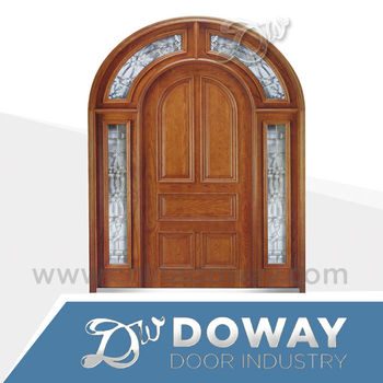 Elegant Modern Glass Design Wood Luxury Arched Door Villa