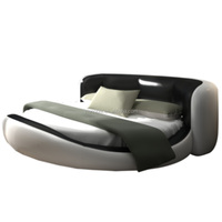 Luxury hot sell white wooden furniture beds /leather bed/ italian round bed