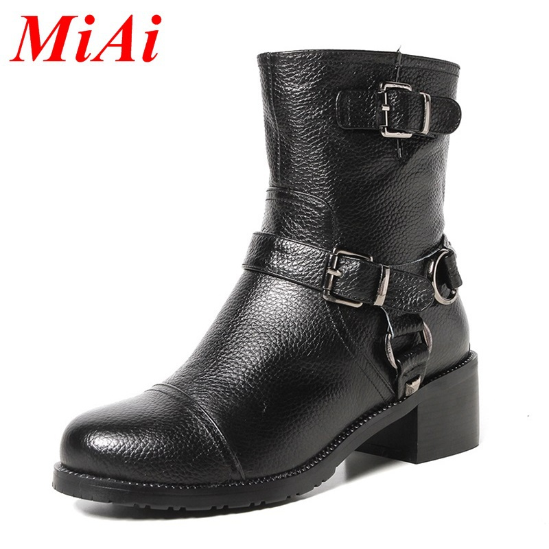 2015 new winter fashion women ankle boots leather round toe zipper motorcycle boots women med heel ankle boots black boots women