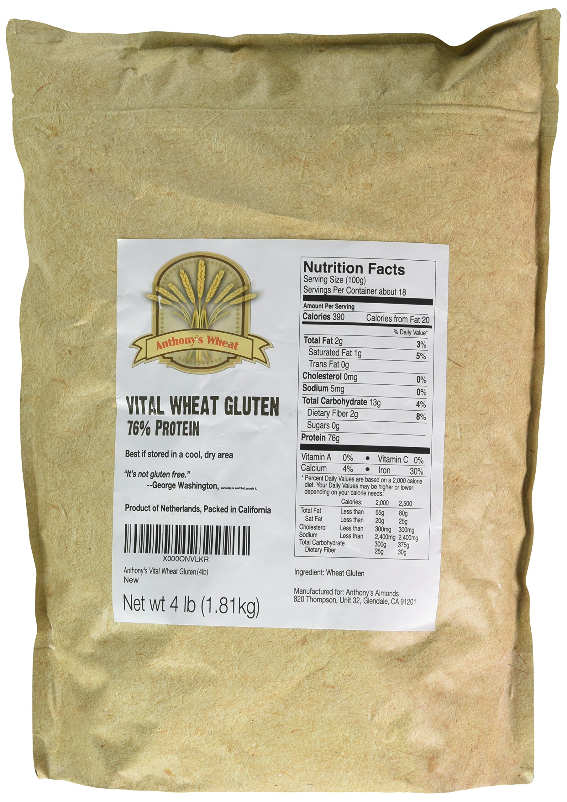 Buy Vital Wheat Gluten by Anthonys (4 Pounds), 77% Protein