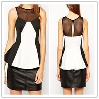 Keyhole Back Closed Monochrome Mesh Ladies Peplum Tops and Blouse 2015 NT6038