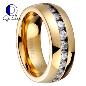 Gentdes Jewelry Titanium Gold-Plated Round Shape CZ Channel Set Men Wedding Ring
