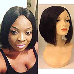 iVogue Hair New 136 Long Lace Free Part Lace Front Wig Short Bob Human Hair Wigs Maylaysian Virgin Soft Human Hair Lace Wig Natural Color 8inch In Stock (8inch New Lace Front Wig)