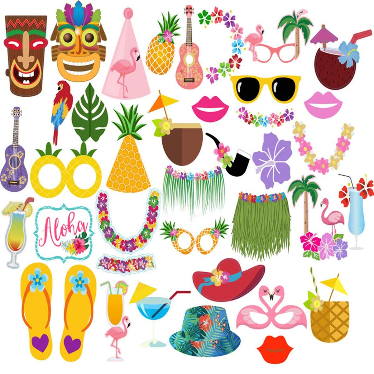 JeVenis 2 in 1 Luau Photo Booth Props Frame Party Supplies Hawaiian Tropical Tiki Birthday Baby Shower Bridal Shower Wedding Decorations