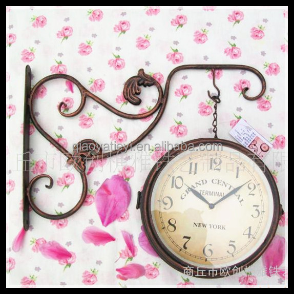 european antique style decorative double sides metal wrought iron wall clock