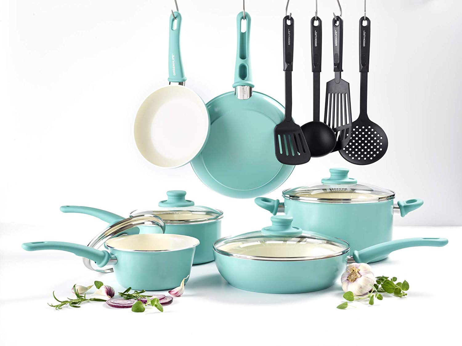 14 Piece Ceramic Non-Stick Cookware Set with Soft Grip Color: Turquoise