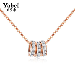 China import necklace designer jewelry rose gold titanium zircon ring pendant necklace