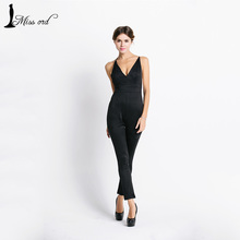 Free Shipping  Missord 2015 Sexy deep v halter cross suede JUMPSUITS FT3604