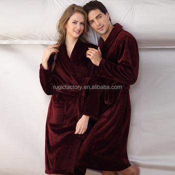 Mens Fleece Dressing Gown Bath Robe Thick Winter Warm Lounge Robe ...
