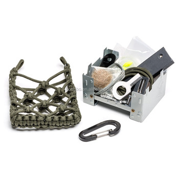 KongBo Outdoor Survival Kit Folding Camping Stove with Paracord Bag And Fire Starter Portable Cooking Pocket Stove For Camping