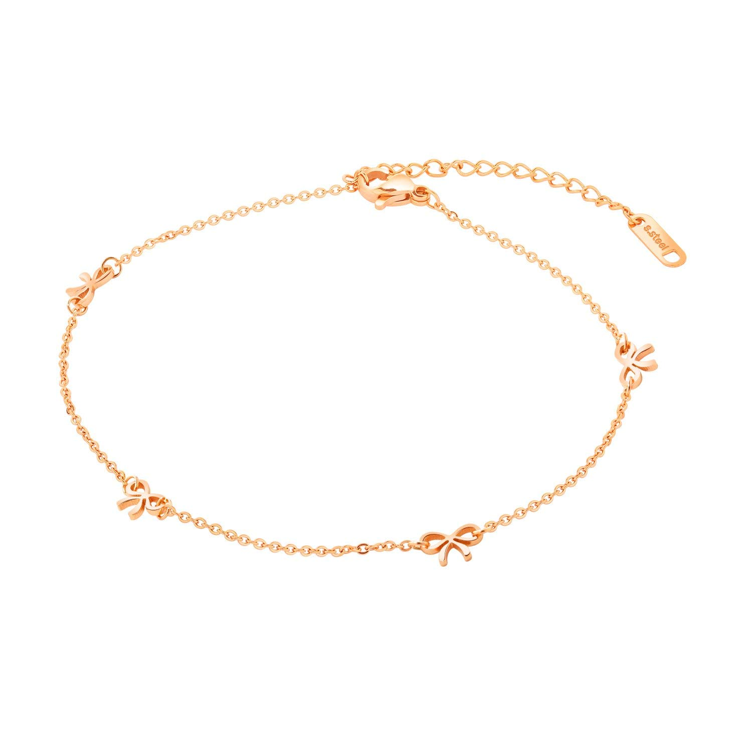 0e6c96523 Get Quotations · OPK Stainless Steel Rose Gold Women Anklet, Cute Bowknot  Pendant Link Chain Beach Foot Jewelry