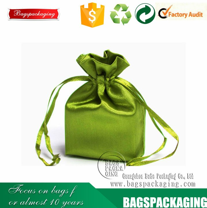 Green gift drawstring wholesale satin pouch bag