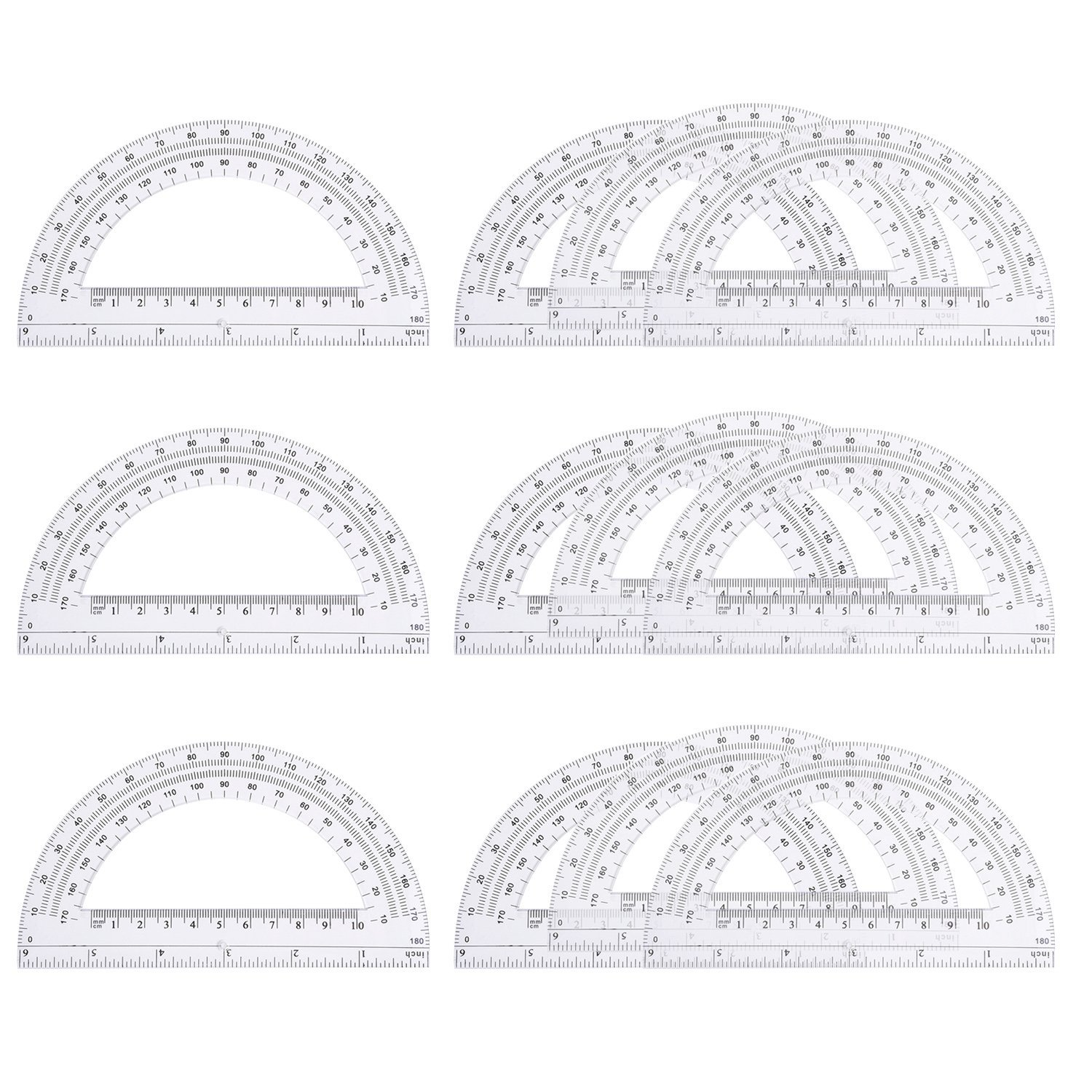 eBoot 12 Pack Plastic Protractors 180 Degrees, 6 Inches, Clear