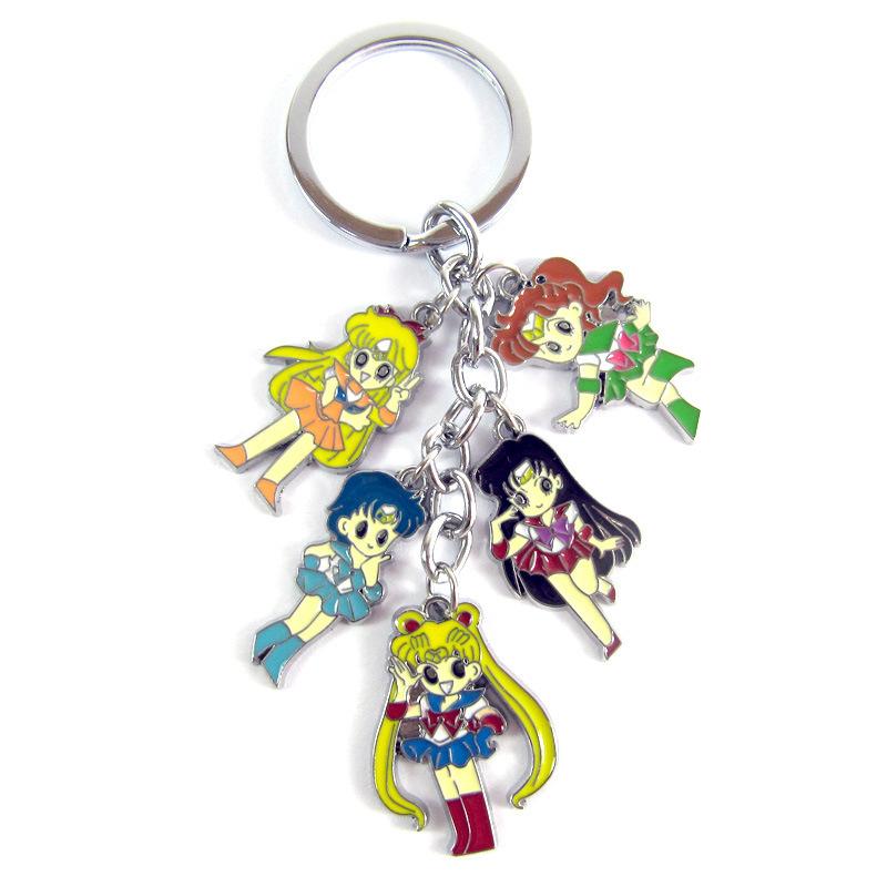 Retail-1pcs-Anime-Cartoon-Sailor-Moon-Keychains-Metal