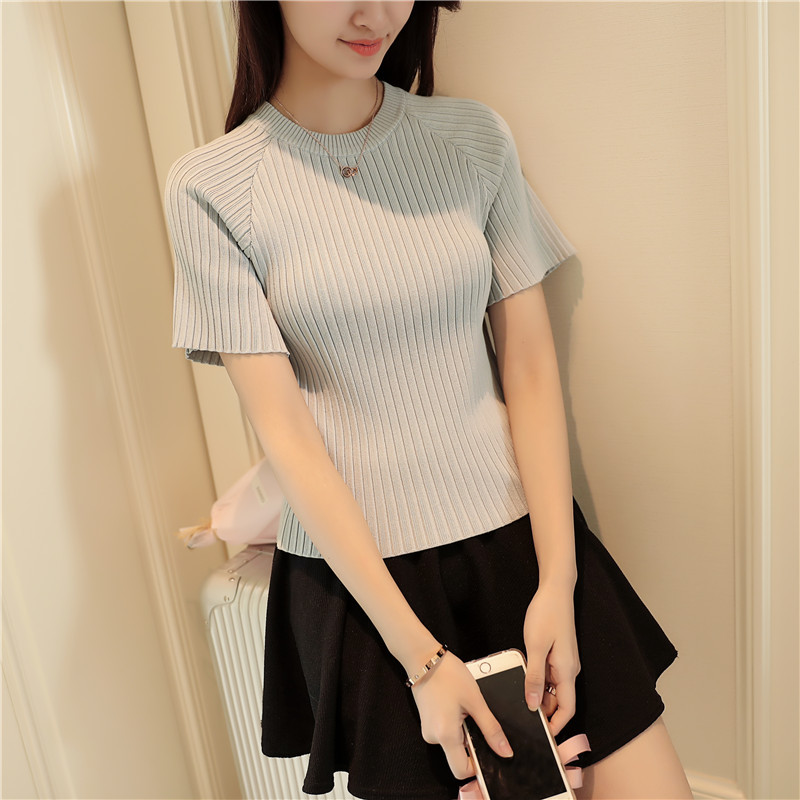 Round Neck Raglan Short Sleeve Womens Rib Pullover Ladies 2017 Summer Comfortable Elastic Jumper Knitwear Sweater