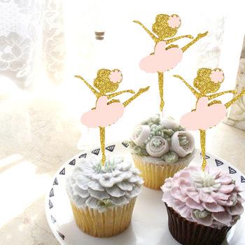 Lindo Bailarin De Ballet Ninas Postre Muffin Cupcake Toppers Oro