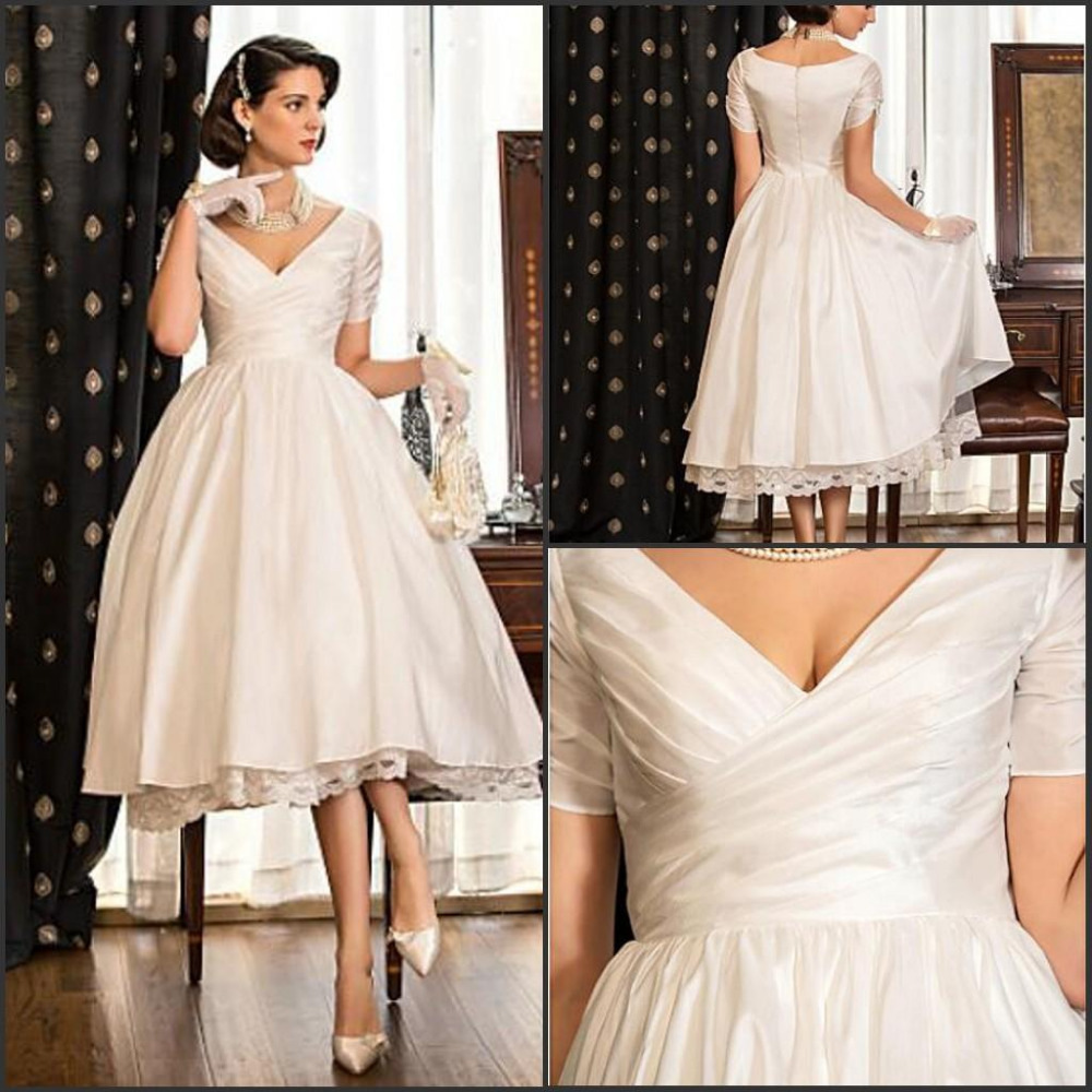 Elegant Silk Wedding Dresses With Sleeves: Elegant V Neck A Line Short Sleeves Short Wedding Dresses