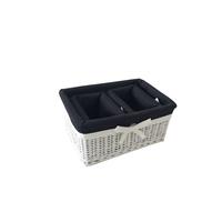 White wicker basket storage basket with cotton liner