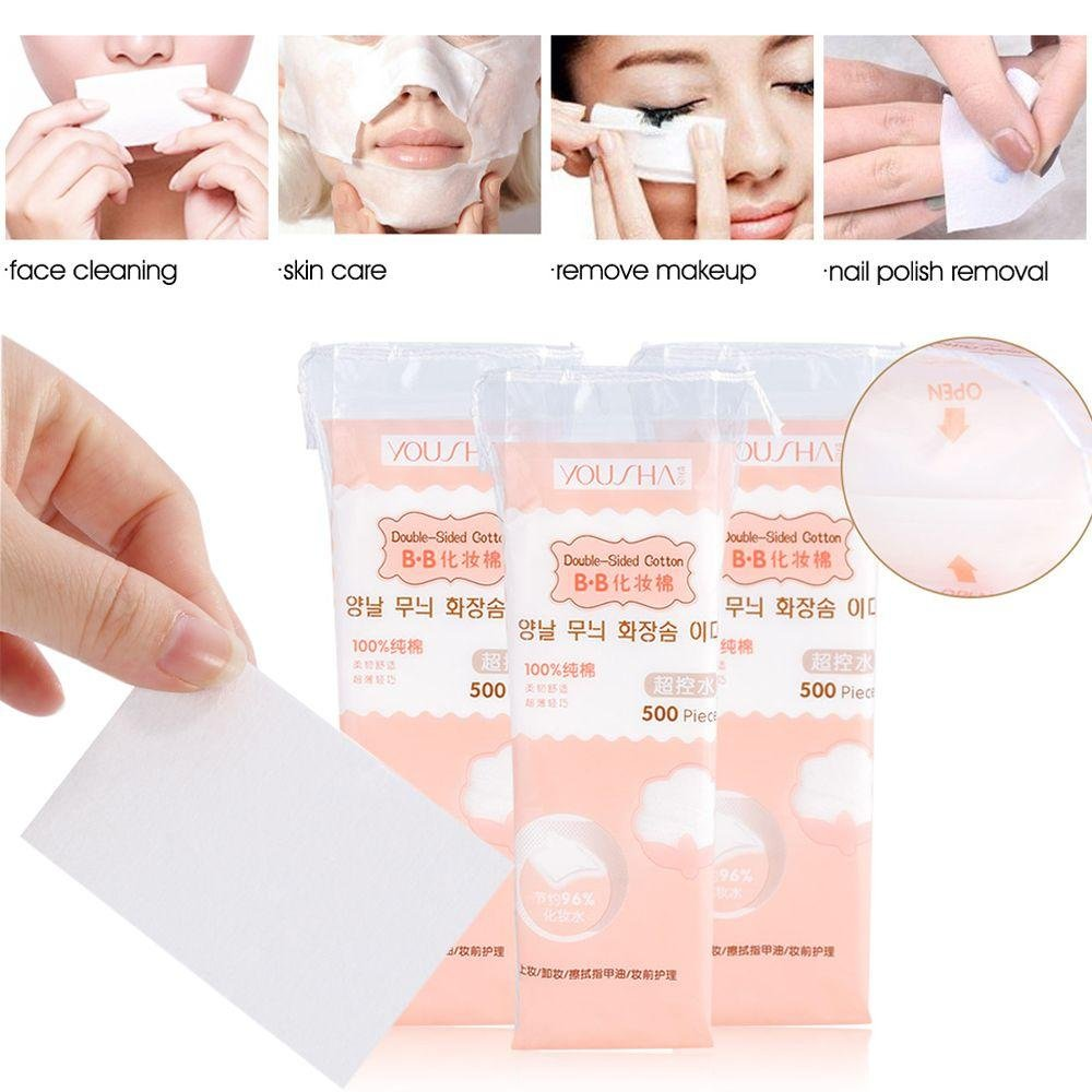 Miswilsi 500PCS New Beauty Organic Facial Tissue Nail Polish Remover Cleaning Cotton Pads Makeup Tool