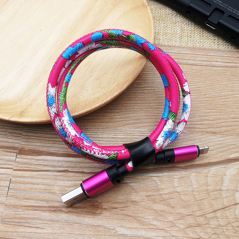 1M/3ft Leather Mobile Phone Usb Charging Data Cable for Iphone фото