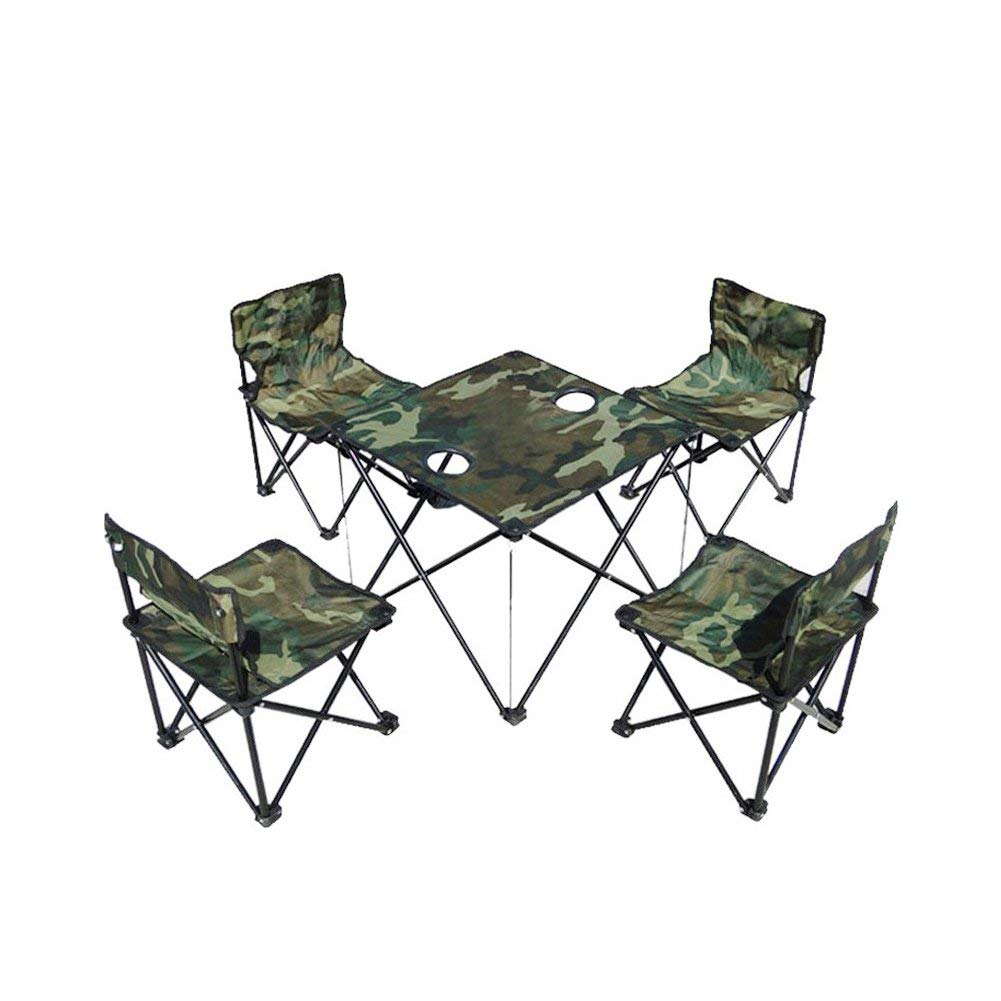 Tri - polar 4pcs Folding Camping Chairs and 1pcs Folding Desk for Outdoor BBQ,Camping,Travel,Hiking,Garden,Beach Camouflage
