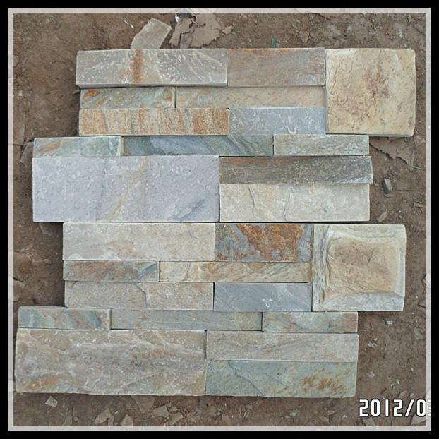 Fachada de muro de piedra de pizarra amarillo azulejos - Fachadas de pizarra ...