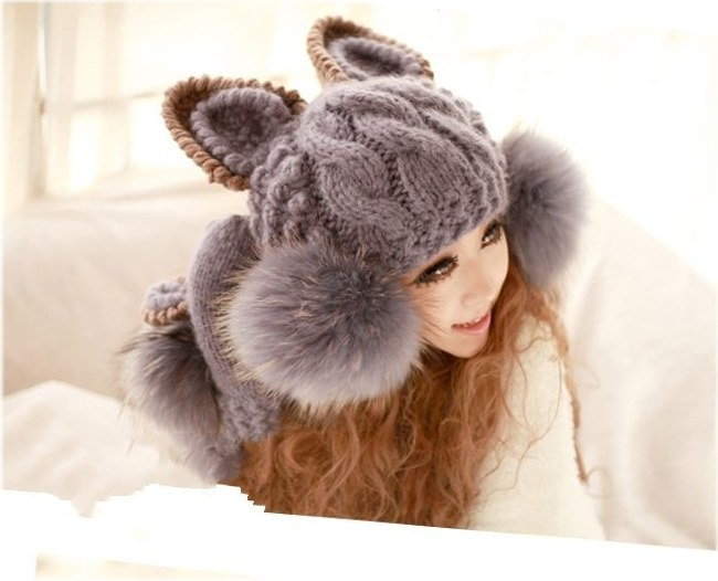 e3a62c0015b Get Quotations · Magic large dolls autumn and winter devil horn knitted hat  cat ears hair ball hats for