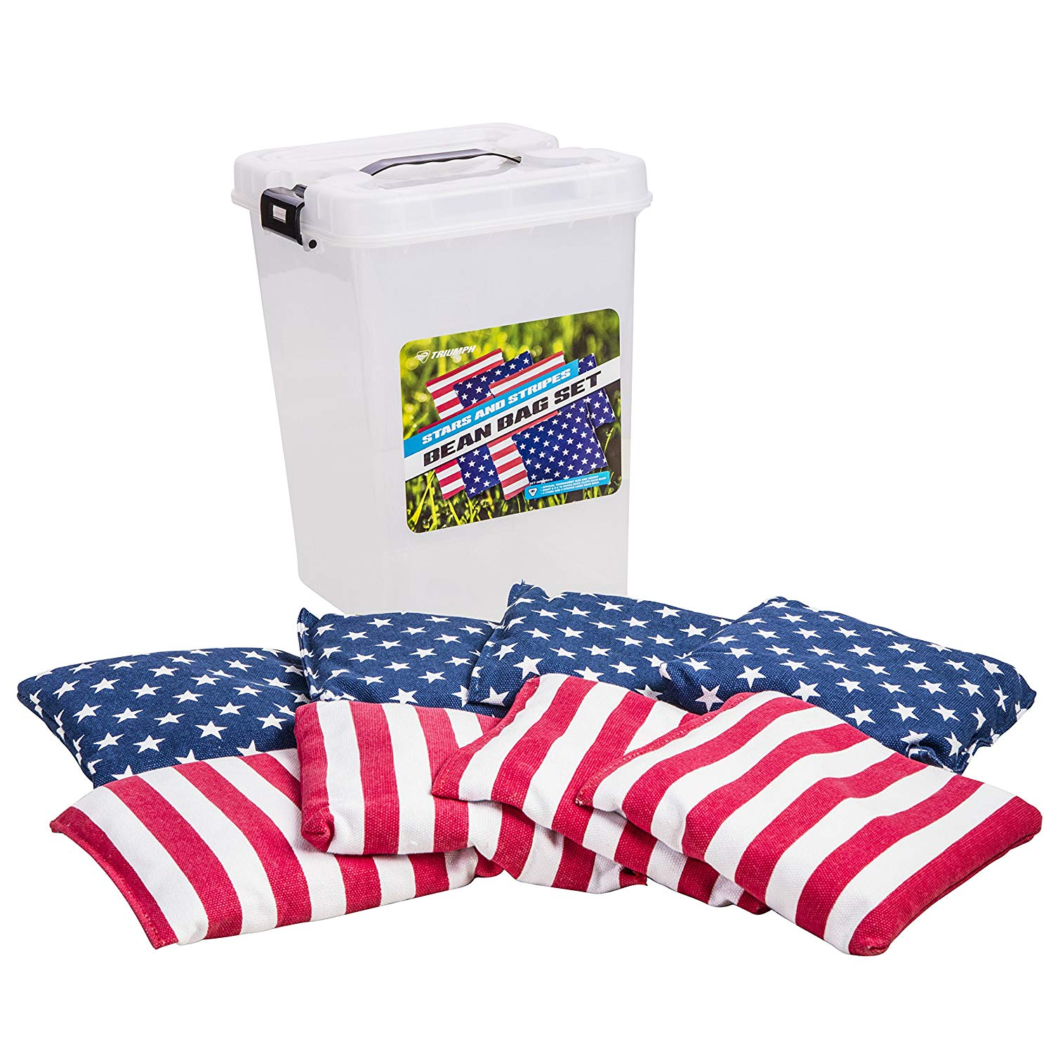 Triumph Patriotic Stars Stripes 16 oz. Replacement Bean Bag Set Includes 8 Heavy-Duty Cloth Bean Bags