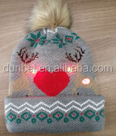 Wholesale factory custom 2015 new fashion winter LED light knit beanie hat