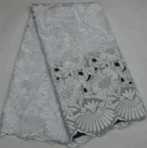 KL67120 White Swiss Voile Lace In Switzerland With Stones Lace Fabric For Wedding Dresses Lace Fabric