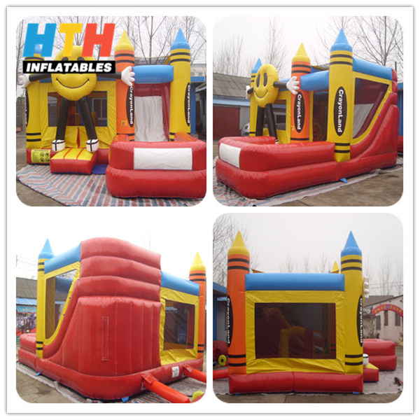 Happy face inflatable bouncy castle with water slide