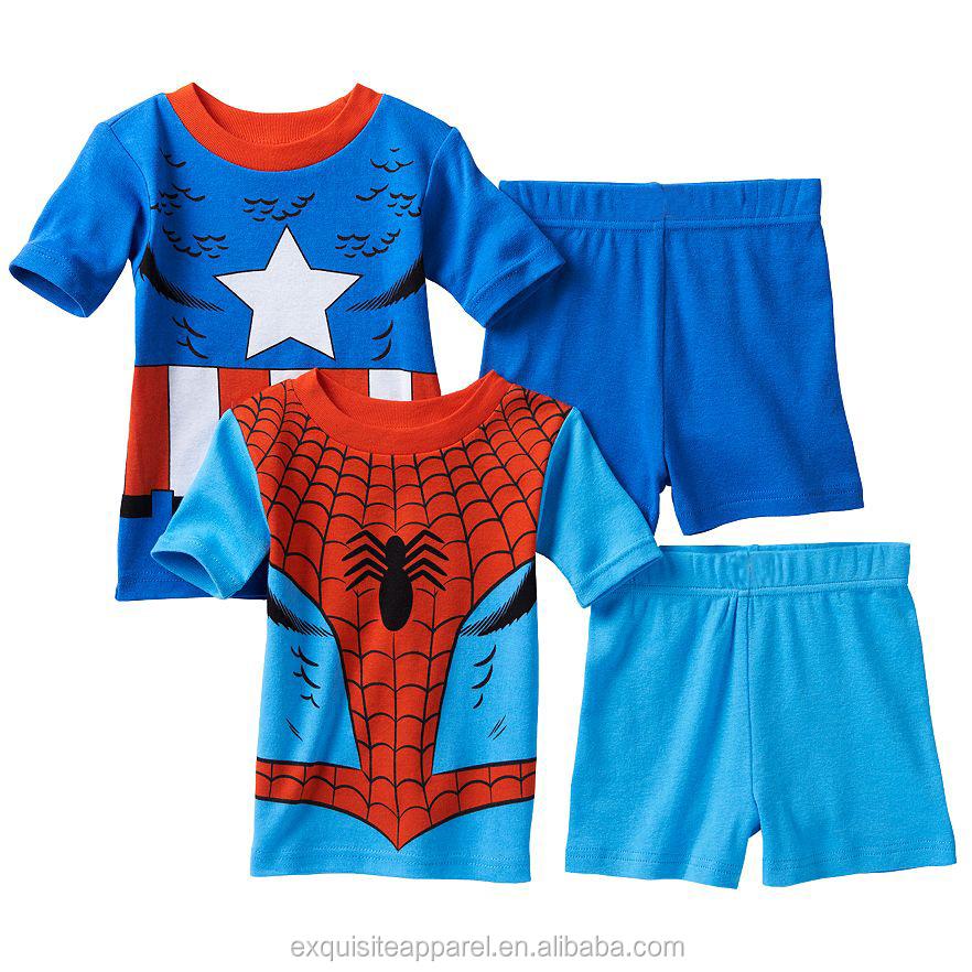 bfa4b03a5 Personalizado 100% algodón niños pijamas de verano Superman imprimir pijama  conjunto para ...