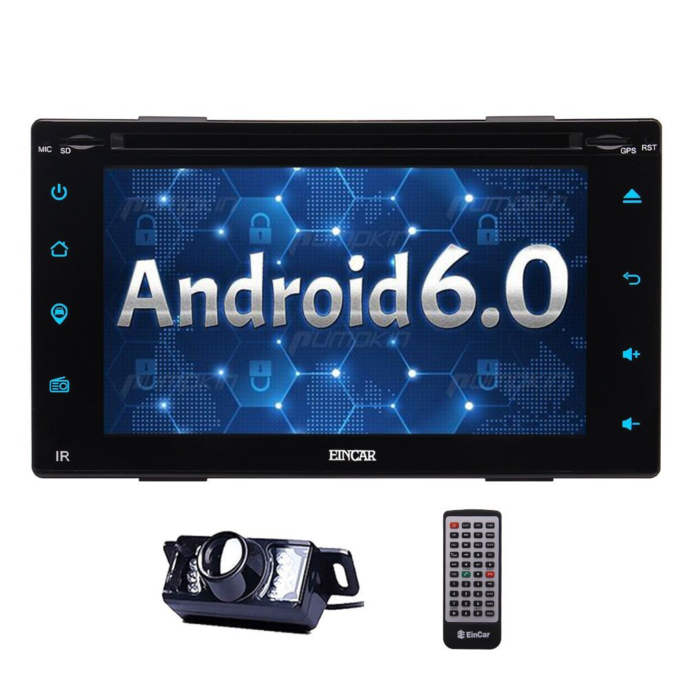 Backup Cam + Eincar Android 6.0 Car Stereo Bluetooth GPS Navigation DVD CD Player Radio 1080P USB SD WIFI OBD2 CAM-IN Mirror Link Support Subwoofer/Audio Output/3G/4G (Optional)+Remote Control