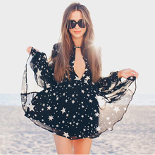 F20212A High quality women short dresses for outings long sleeve stars printed v neck black chiffon dresses for women