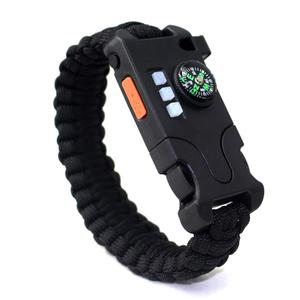 Outdoors Tactical Emergency Gear Kit Survival Paracord Bracelet Includes Laser Infrared LED Flashlight UV Lamp Compass Whistle