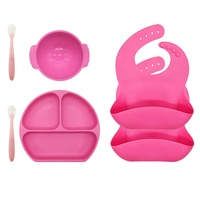 Top Silicone Food Grade Feeding set baby,Set of 6 with Baby Feeding Plate Bowl Spoon and Bib