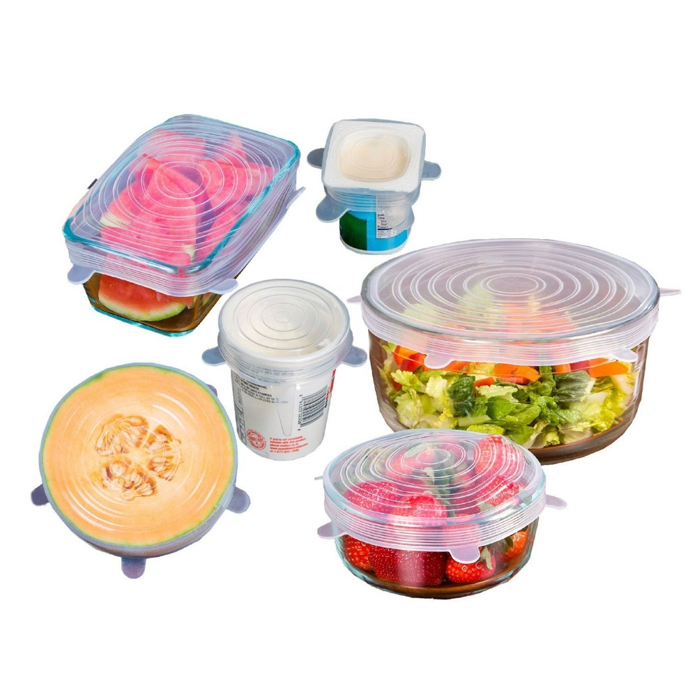 Clear Siliocne Food Storage Lids Reusable Covers Keep Food Fresh And Tasty