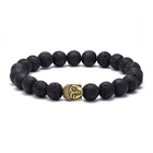 Aliexpress Top Selling Spiritual Buddha's Gold Head Colored Lava Stone Bead Bracelet