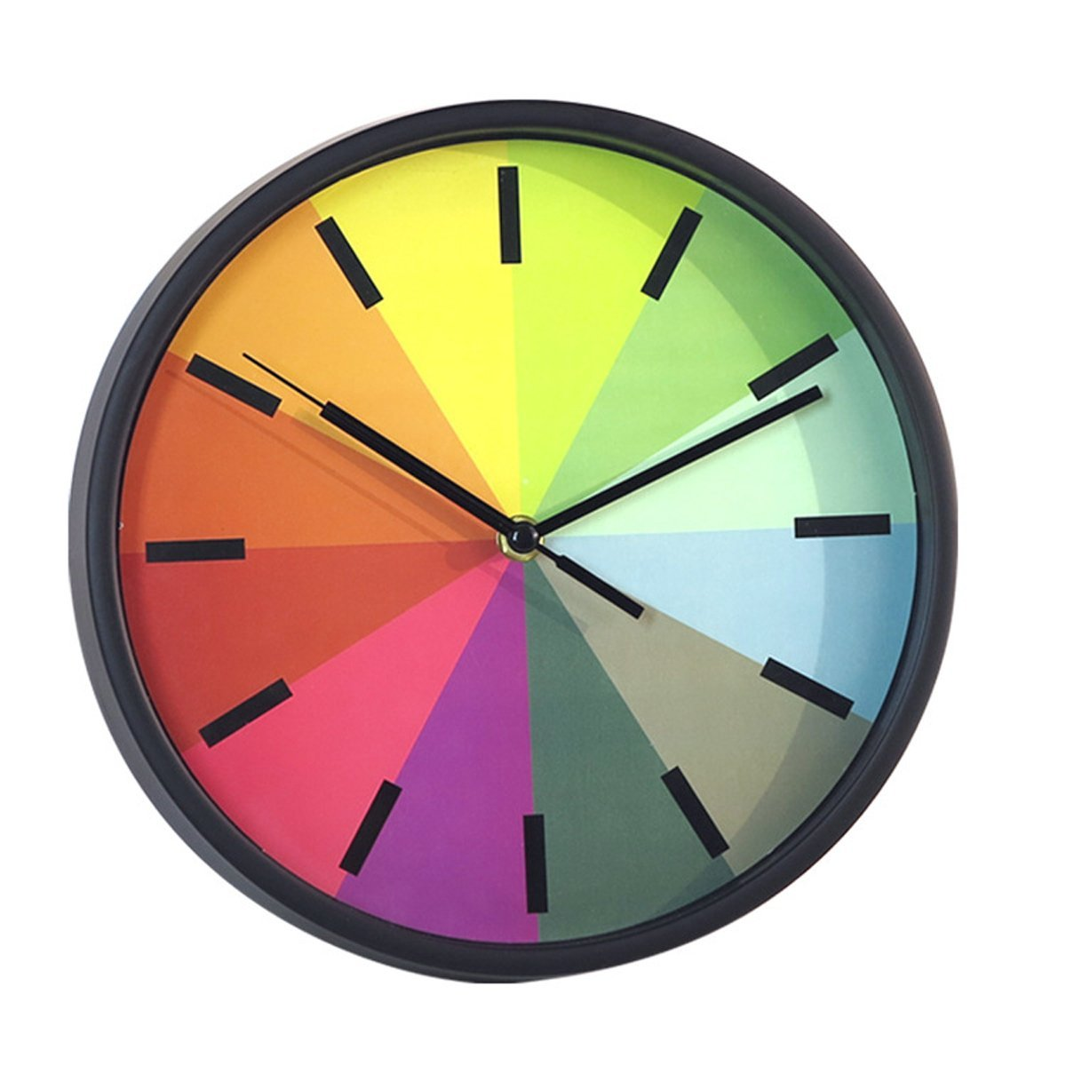 Get Quotations · Foxtop Modern Creative Round 10 Inch Non Ticking Silent  Wall Clock,Kids Rainbow Color