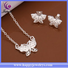 Butterfly shaped cute design jewely set 925 silver plated fashionable design jewelry set (CS509)