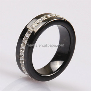 Fashion charm black ceramic stainless steel ring with full diamond around