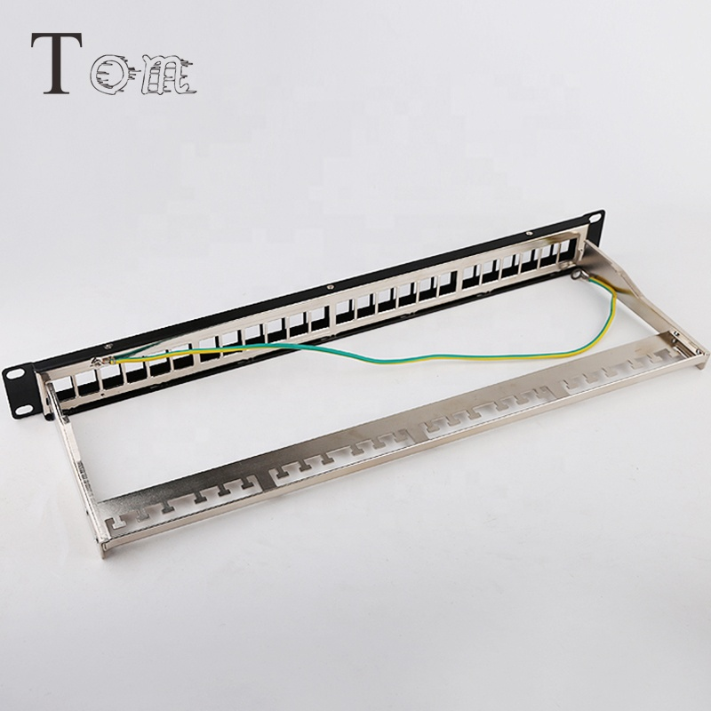 p-03 24 port STP Blank Patch Panel with back bar available for Cat5e or Cat6 Keystone Jacks