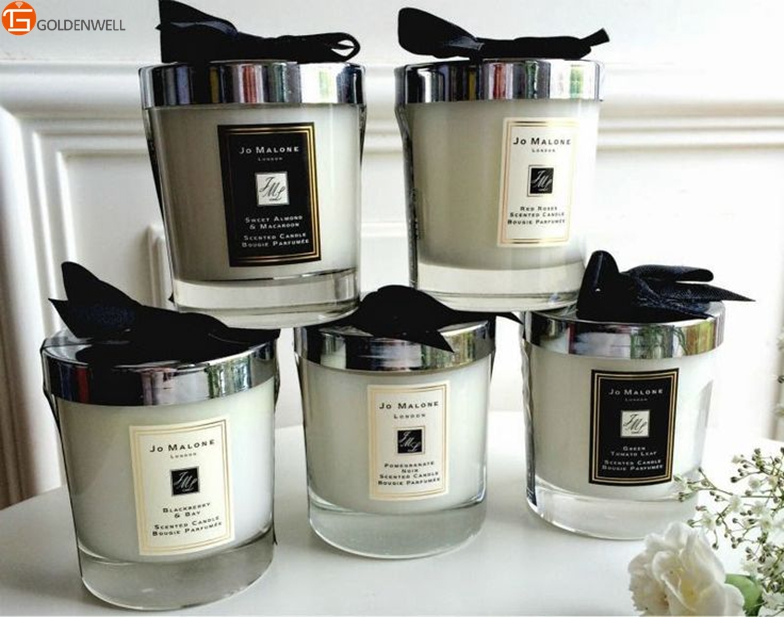 aroma scented candle in glass jar with bowknot packaging. Black Bedroom Furniture Sets. Home Design Ideas
