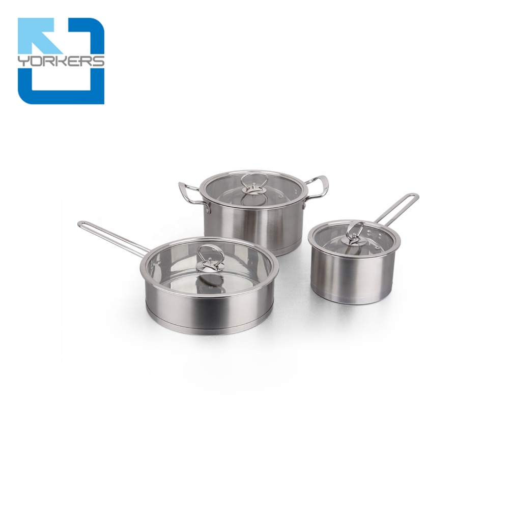 3 pieces 304 stainless steel cookware cooking pots set