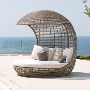 Outdoor Rattan Wicker Sun Lounger with Canopy