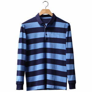 wholesale custom striped two color long sleeve man cotton work polo t shirt