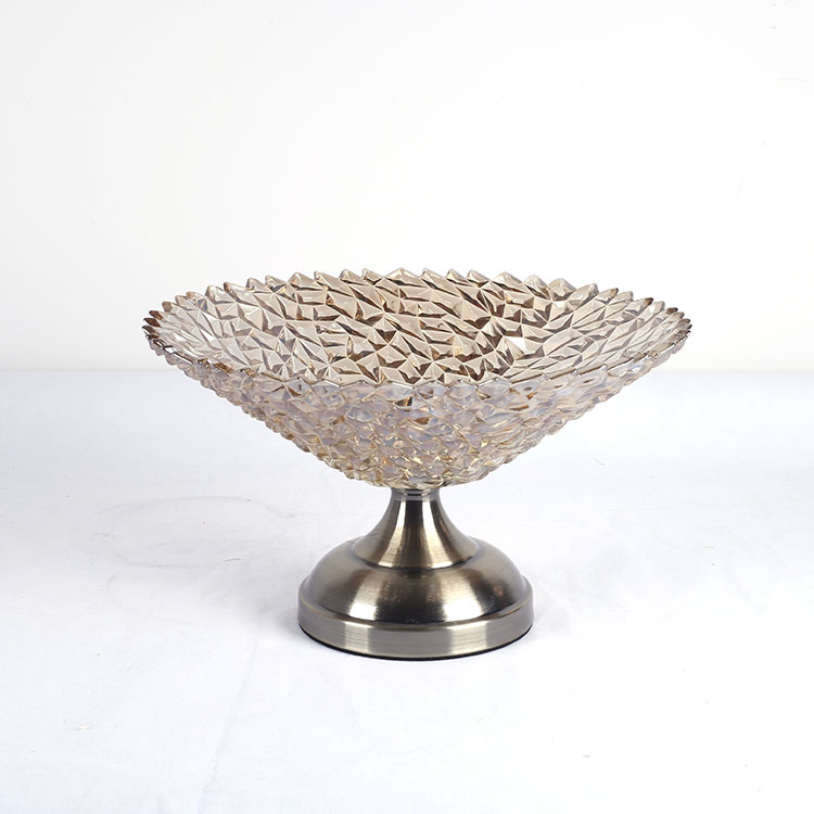 frost flower crystal glass dry fruit wedding decoration tray with metal stand